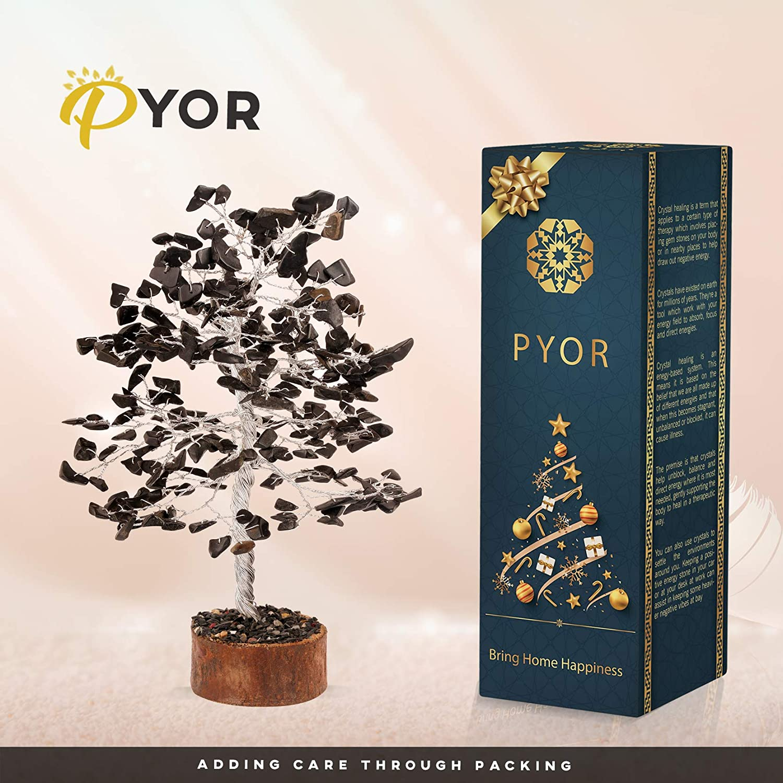 PYOR Black Tourmaline Feng Shui Bonsai Money Tree Gemstone Reiki Healing Vastu Spiritual Divine Positive Energy Generator Silver Wire 10 Inch