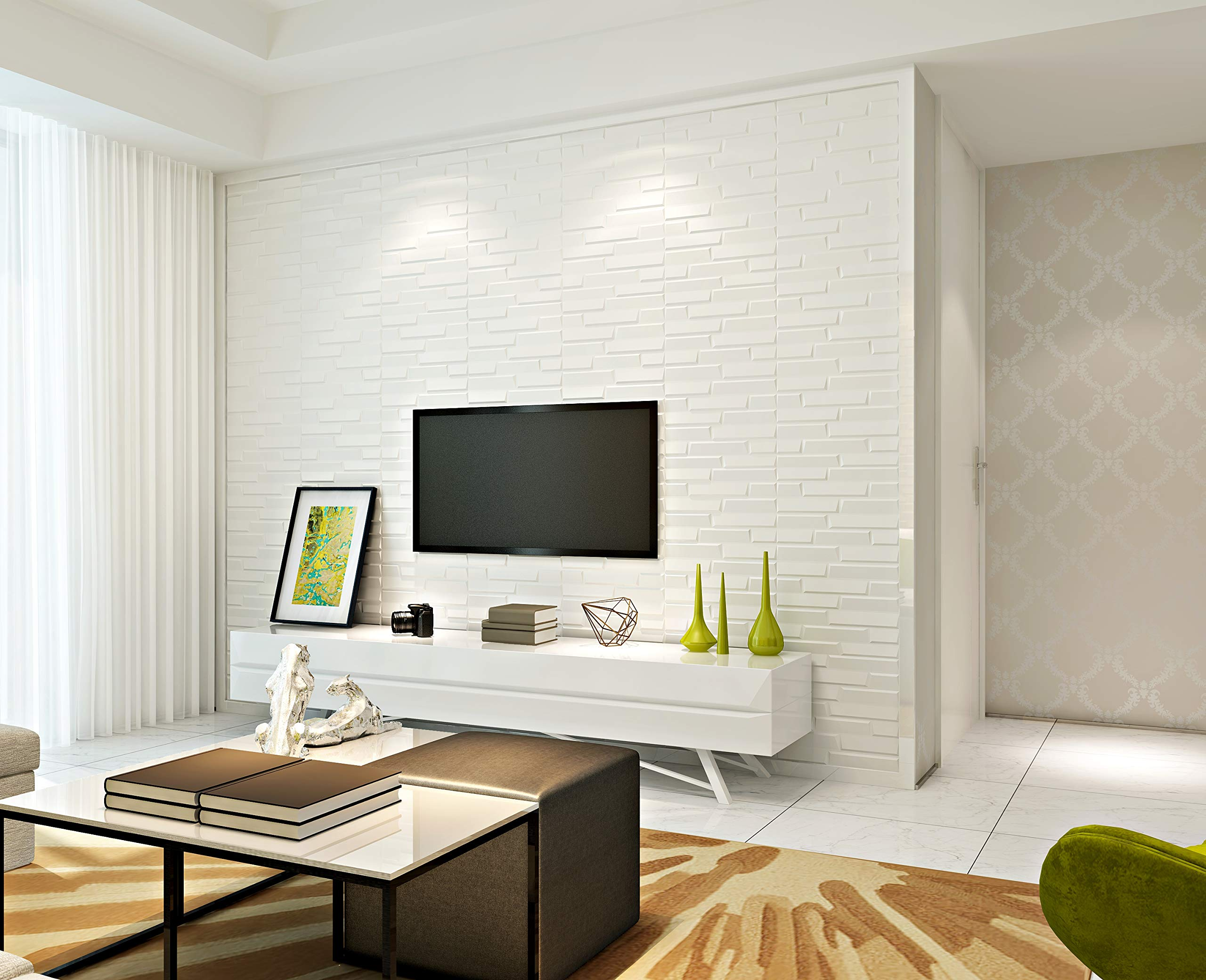 Art3d Peel and Stick 3D Wall Panels for Interior Wall Decor, White, 27.5''x30.7'' (10 Pack) by Art3d (Image #4)