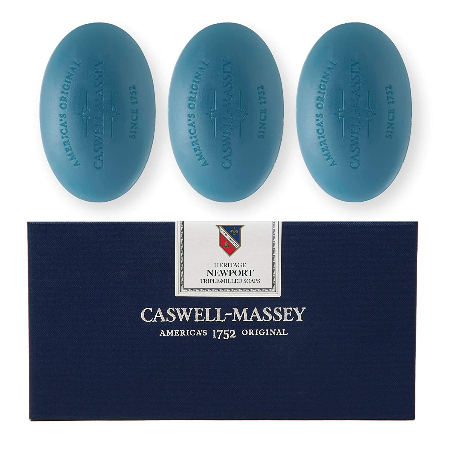 Caswell-Massey Triple Milled Luxury Bath Soap Newport Gift Set - Famed Fragrance - 5.8 Ounces Each, 3 Bars