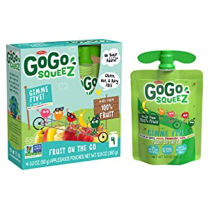 GoGo squeeZ Applesauce, GIMME 5, 3.2 Ounce (4 Pouches), Gluten Free, Vegan Friendly, Unsweetened Applesauce, Recloseable, BPA Free Pouches