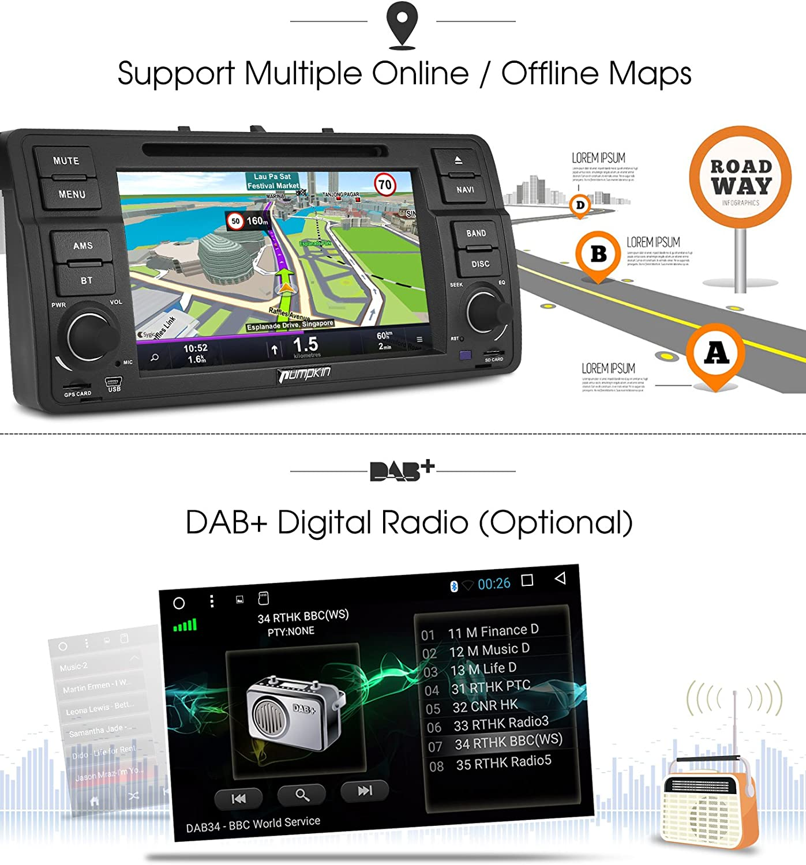 Pumpkin Android 7.1 Octa-Core Autoradio GPS Navegador 2GB Ram 32GB ...