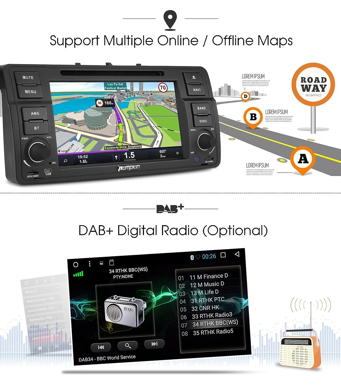 Pumpkin Android 7.1 Octa-Core Autoradio GPS Navegador 2GB Ram 32GB Rom para BMW E46 Series: Amazon.es: Electrónica