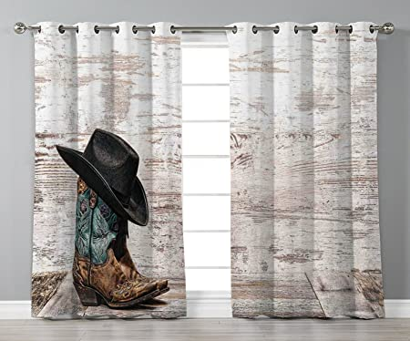 Satin Grommet Window CurtainsWesternTraditional Rodeo Cowboy Hat And Cowgirl Boots In A