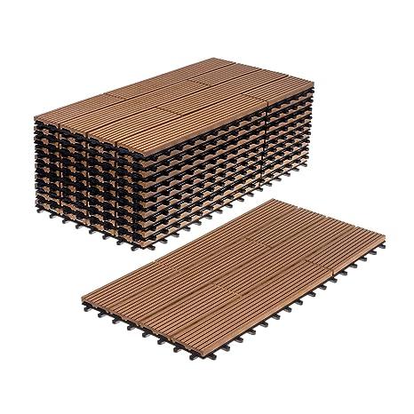 WPC Holz Kunststoff Fliesen Terrassenfliesen Klickfliesen Balkonfliesen 11  Stück (30x60 cm versetzt, braun)
