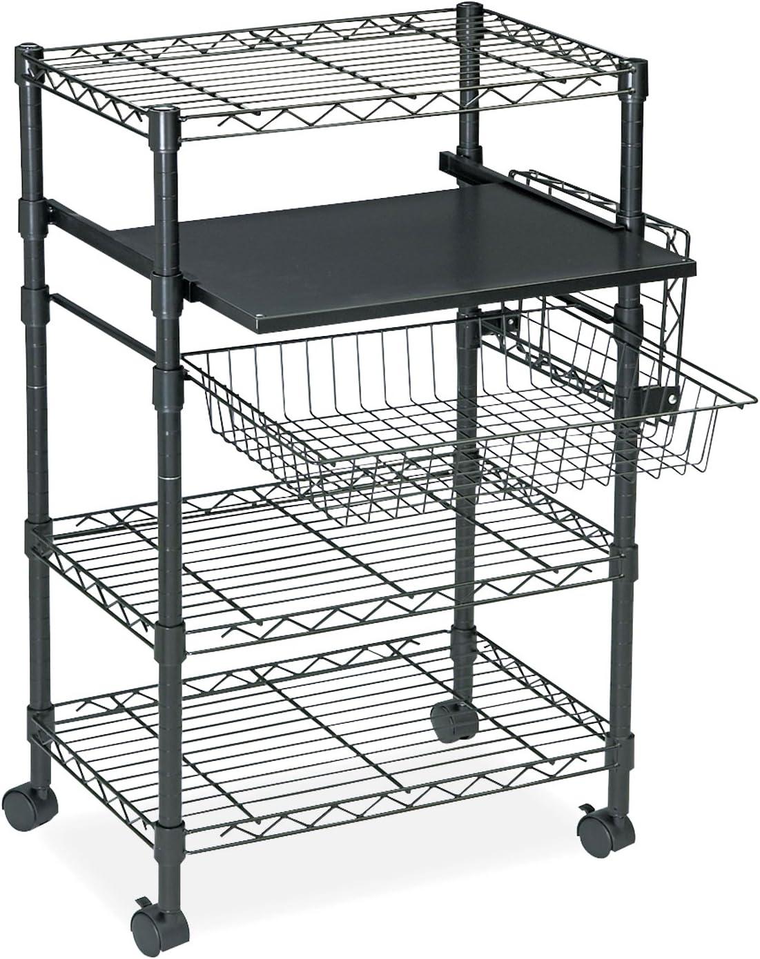 Tiffany Industries Multipurposeose Wire Cart, Three Shelves, 23-1 2W X 15D X 37-1 2H, Black