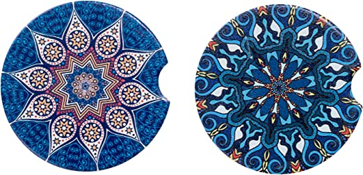 Universal 2.56 Car Coasters Ceramic Absorbent for Cup Holders 6 Pack,Unique Mandala Stone Car Cupholder Coaster for Drink Keep Vehicle Free from Cold Drink Sweat