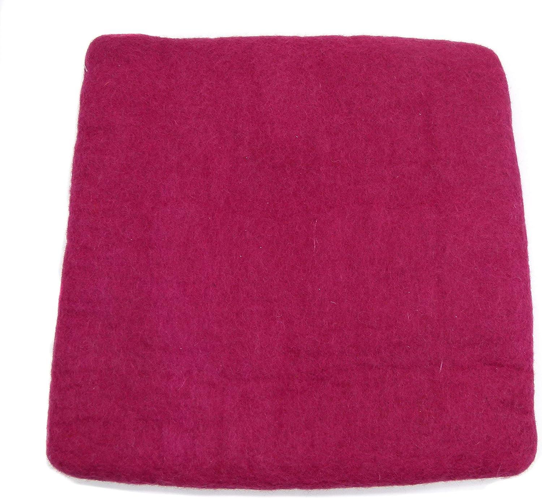 gr/ün 100/% Wolle cm H/öhe 2-3 cm Handarbeit pink rot Orange blau orange Beere feelz Filzkissen Sitzkissen eckig 34x34cm aus Filz t/ürkis