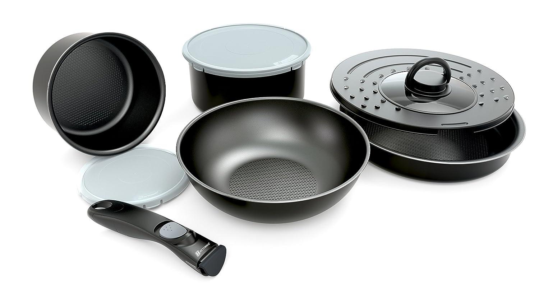 Battrinox Juego de sartenes y cacerolas con Mango extraíble, 8 Unidades, aptas para Todo Tipo de cocinas, Incluidas Las de inducción, Color Negro: ...
