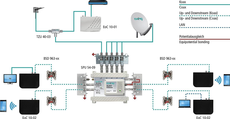 Axing EOC 10 - 02 Ethernet over Coax endpoint Sistema Profesional para Internet Via Cable Coaxial Negro: Amazon.es: Electrónica
