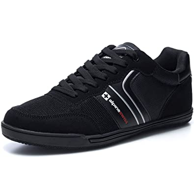 check out 3110a cefca alpine swiss Liam Mens Fashion Sneakers Suede Trim Low Top Lace Up Tennis  Shoes BLK 7