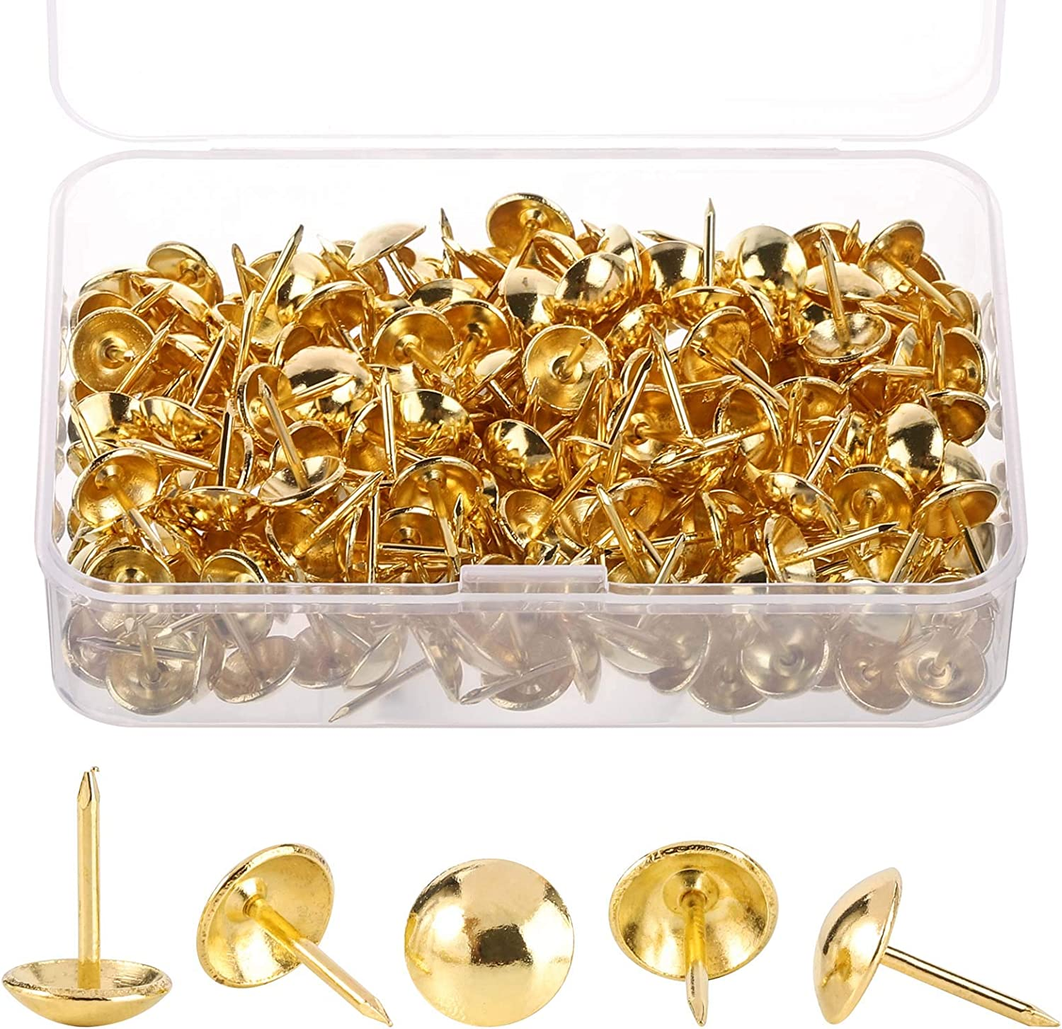 Upholstery Tacks Furniture Nails for Antique Sofa & Headboards Decoration, Brass Thumb Tack Pins - 200 PCS/Box