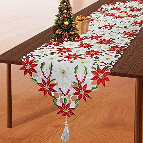 Christmas Embroidered Table Runner Poinsettia Holly Leaf Table Linens Decoration