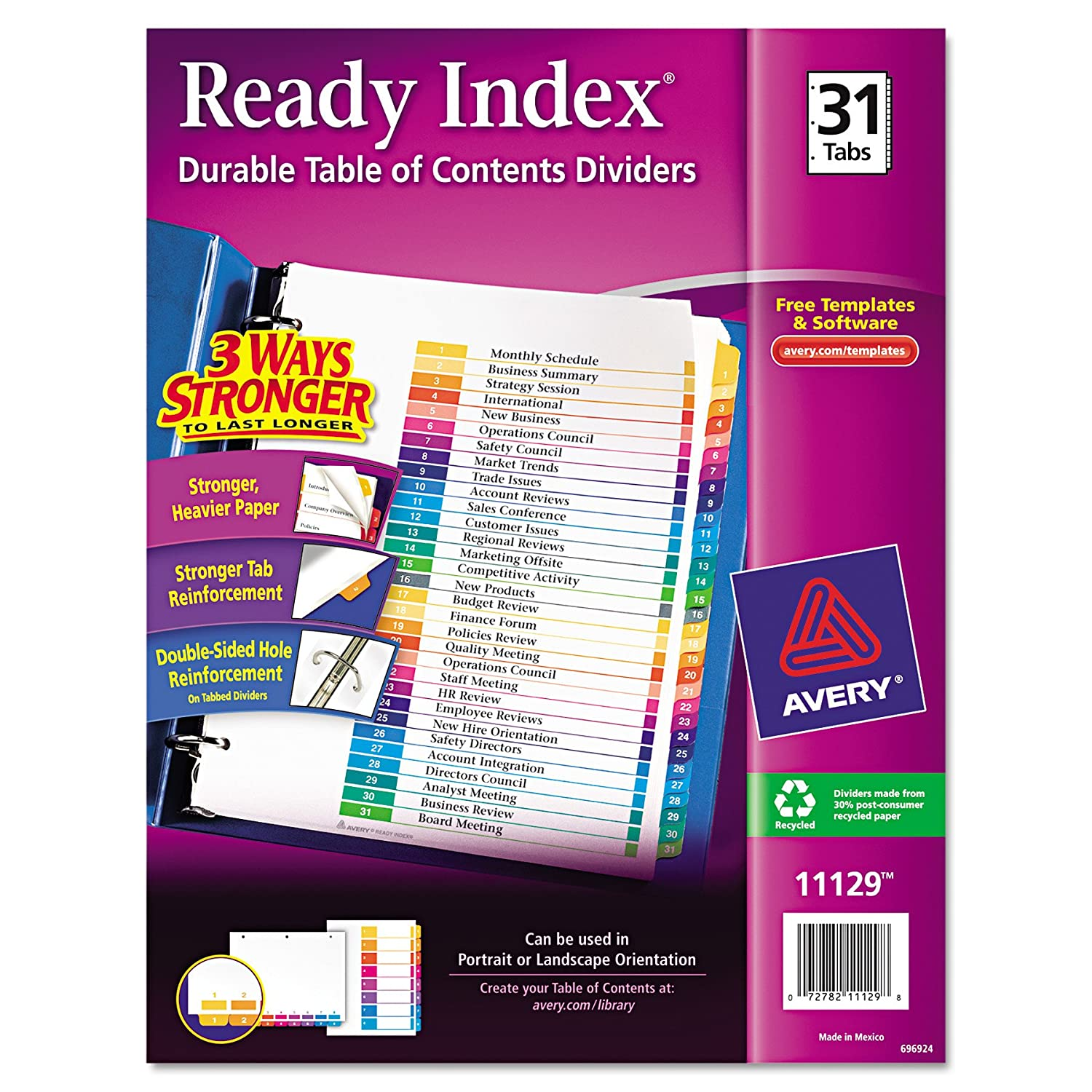 Amazon Avery Ready Index Table of Contents Dividers 31 Tab