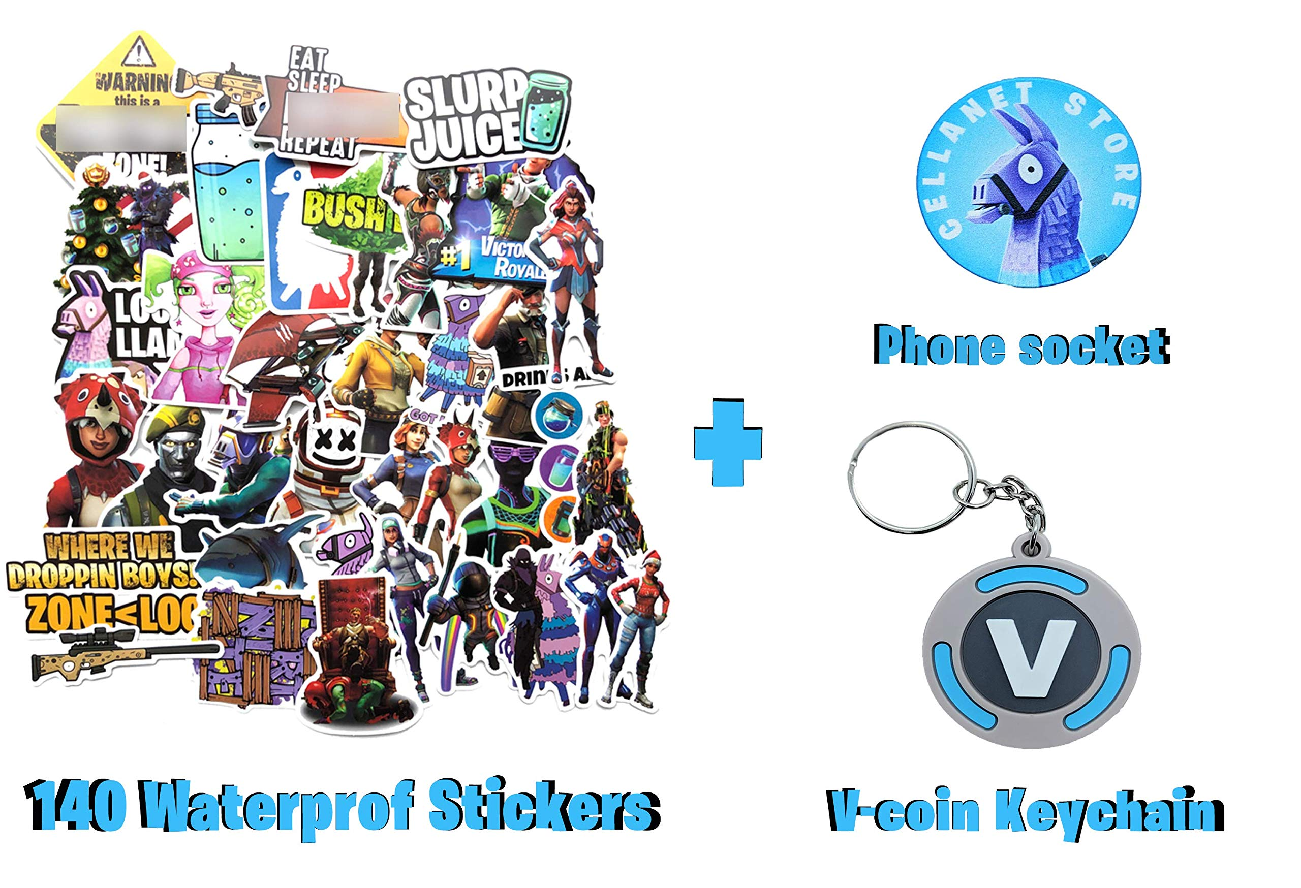 [ Valuable Pack ] 140 Waterproof Game Party Suplies Stickers for Laptop + Llama Phone Stand + V-Coin Keychain for Car Motorcycle Bicycle Luggage Decal Graffiti Patches Skateboard Stickers