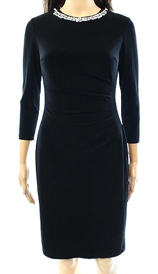 Ralph Lauren Black Rhinestones Neckline Evening Dress 16 At Amazon