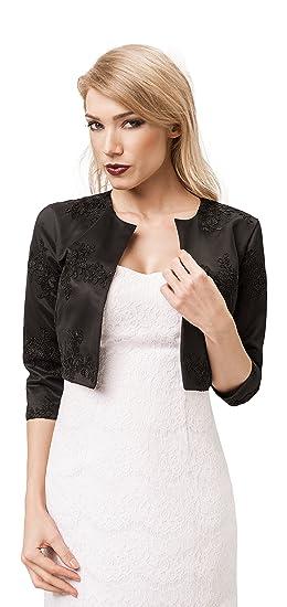 e076ce7406a3 Femme soiree nouveau noir satine pour le cocktail veste bolero de mariee  veste