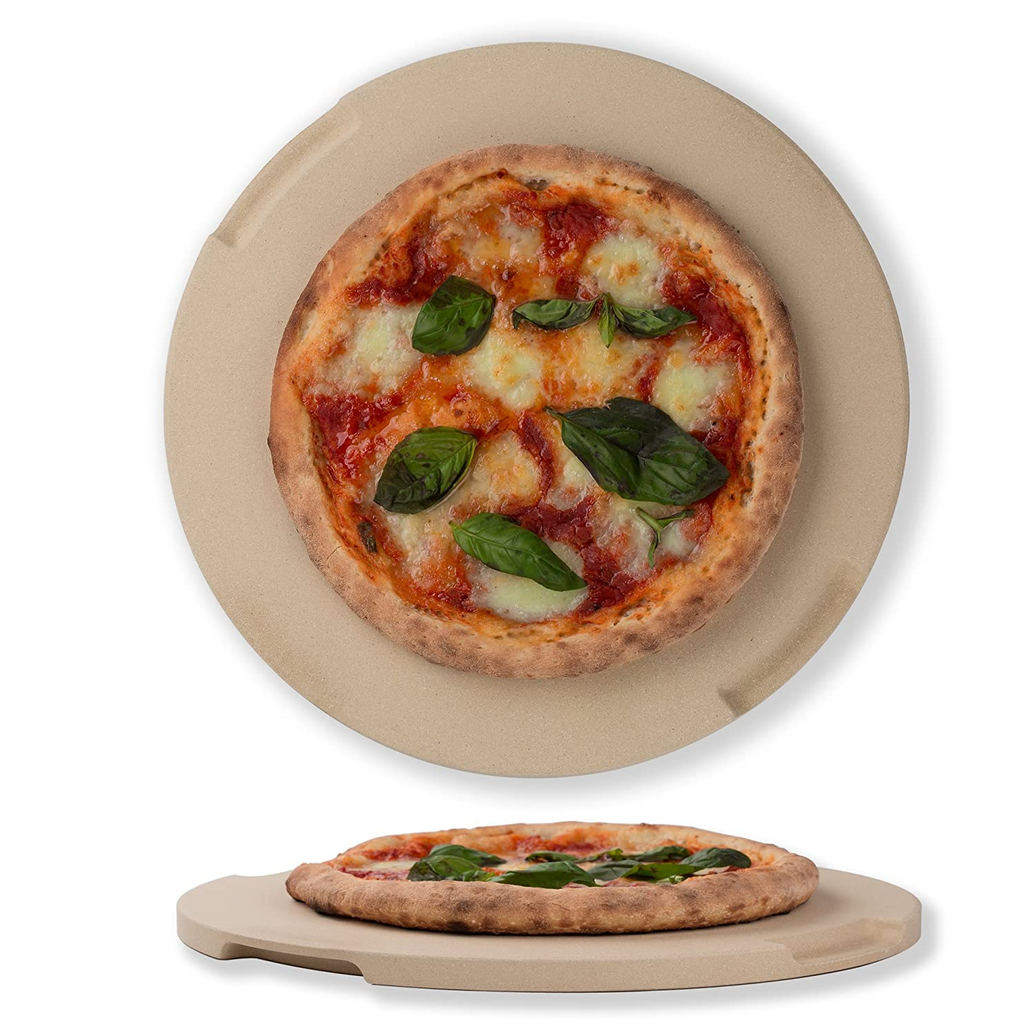"Pizza Stone 12.6"" Round Baking & Grilling Stone, Perfect for Oven, BBQ and Grill. Innovative Double - faced Built - in 4 Handles Design"