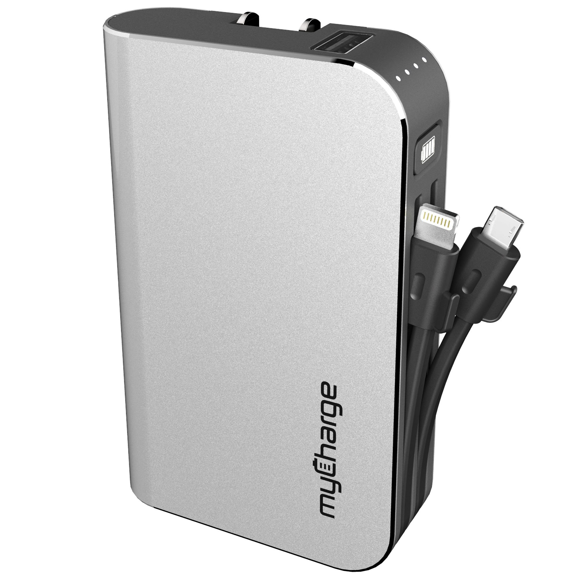 myCharge HubPlus Portable Charger 6700mAh/3.4A External Battery Pack with Built-in USB Port, Integrated Apple Lightning and Micro-USB Cables, Foldable Wall Plug for iPhone, iPad, Samsung Galaxy