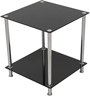 AVF T52 A Black Glass U0026 Chrome Two Tier Square Side Table / Lamp Table