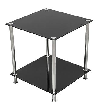 Amazoncom Avf T52 A Black Glass Chrome Two Tier Square Side