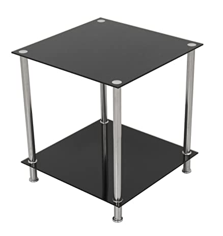 Amazoncom AVF TA Black Glass Chrome Two Tier Square Side - Two tier glass side table
