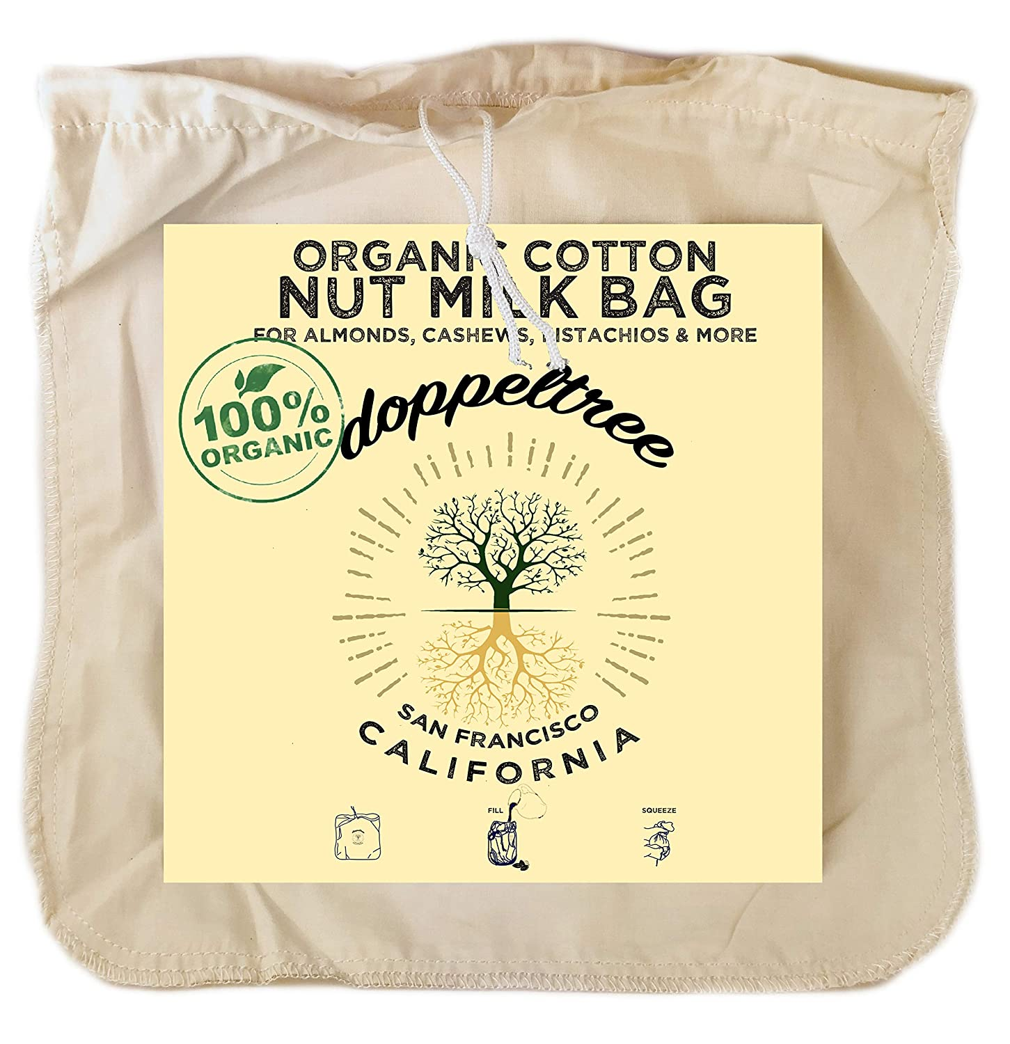Premium Organic Cotton Reusable Nut Milk Bag - Extra Large 12 inch x 12 inch Fine Mesh Food Grade Almond, Soy, and Yogurt Strainer Cheesecloth with EasyOpen Drawstring - Designed in San Francisco
