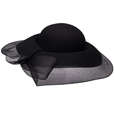 c15e84c101ce7 Image Unavailable. Image not available for. Color  Lawliet Womens Wide Brim  Black Wool Felt Church Hat Abbey Netting T172