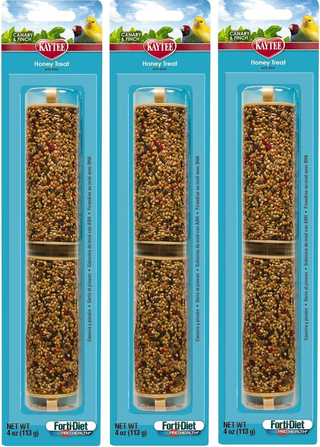 Kaytee 3 Pack of Treat Sticks for Canary and Finch, 4 Ounces each, Honey Flavor