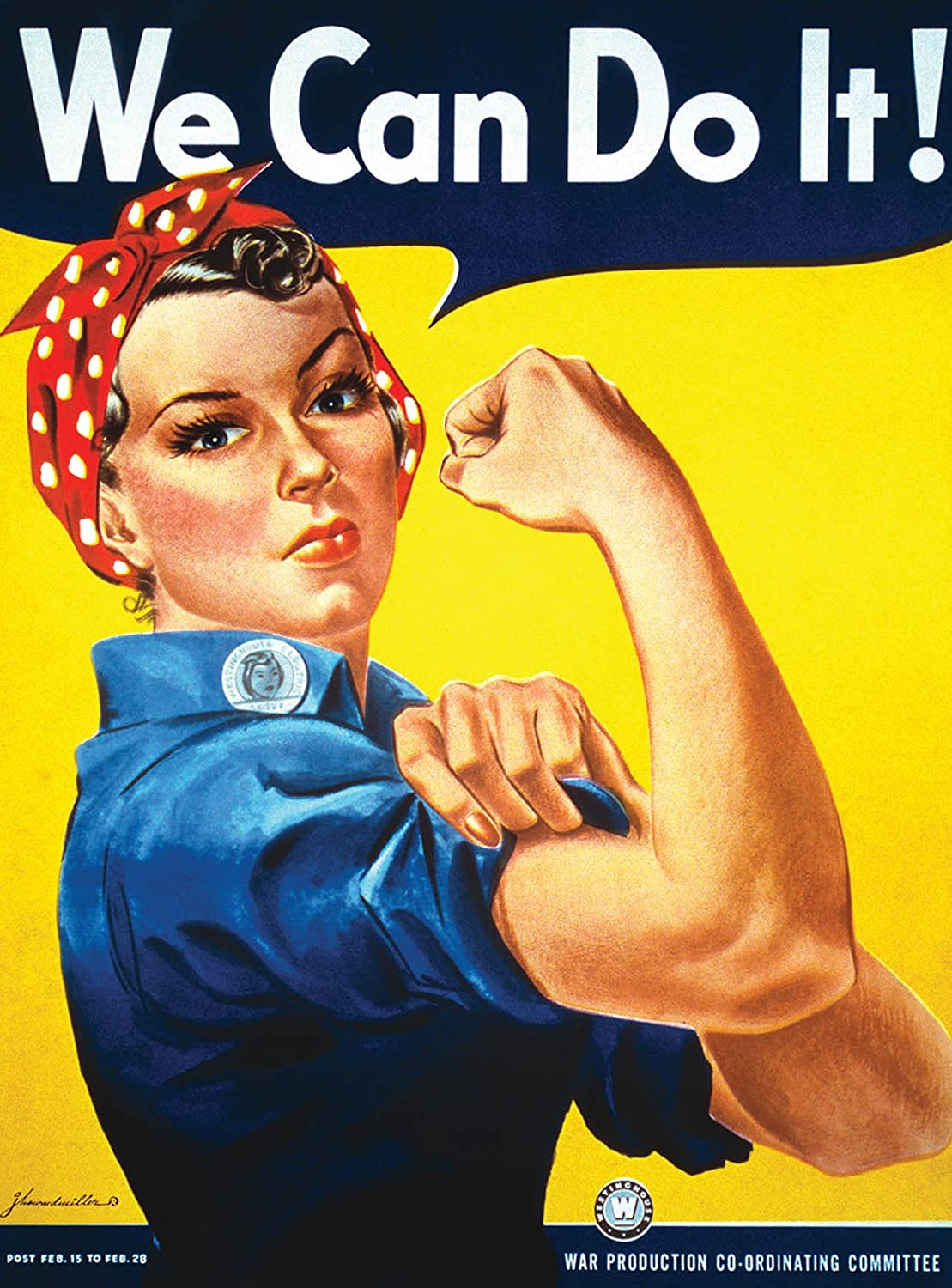 Palace Learning We Can Do It Poster - Rosie The Riveter - Westinghouse Girl - World War 2 Poster - WW2 - Laminated (18 x 24)