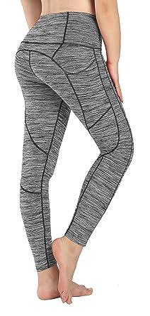 New Mincc Leggings Femme Pantalon de Sport Yoga Fitness Gym Courir Taille  Haute Pilates avec Poches 2bffd709e95