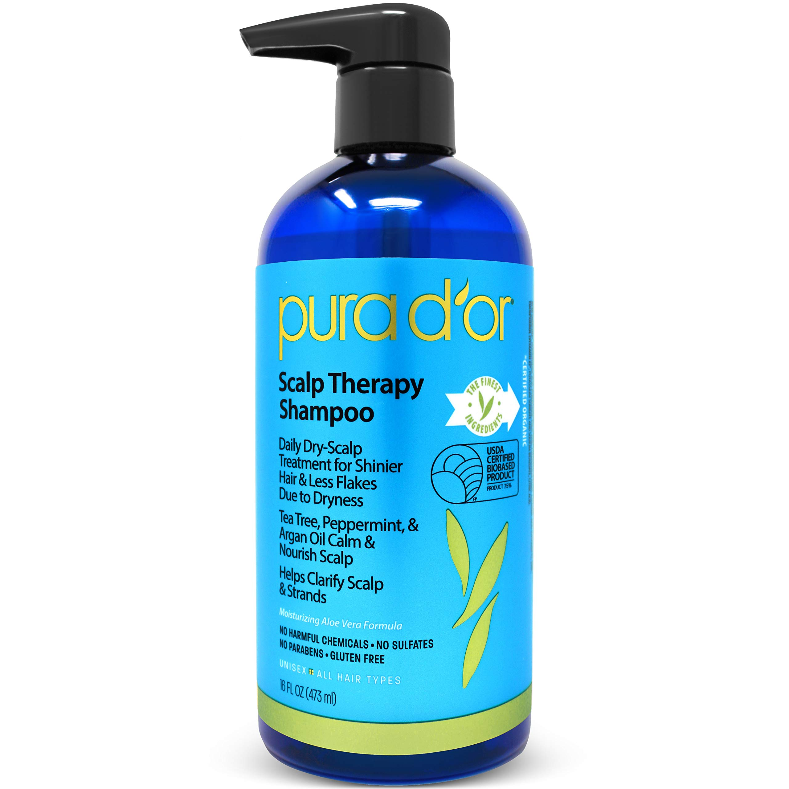 PURA D'OR Scalp Therapy Shampoo - Hydrates & Nourishes Scalp - Scalp Care Shampoo For Itchy Flaky Scalp 16 Fl Oz (Packaging may vary) by PURA D'OR