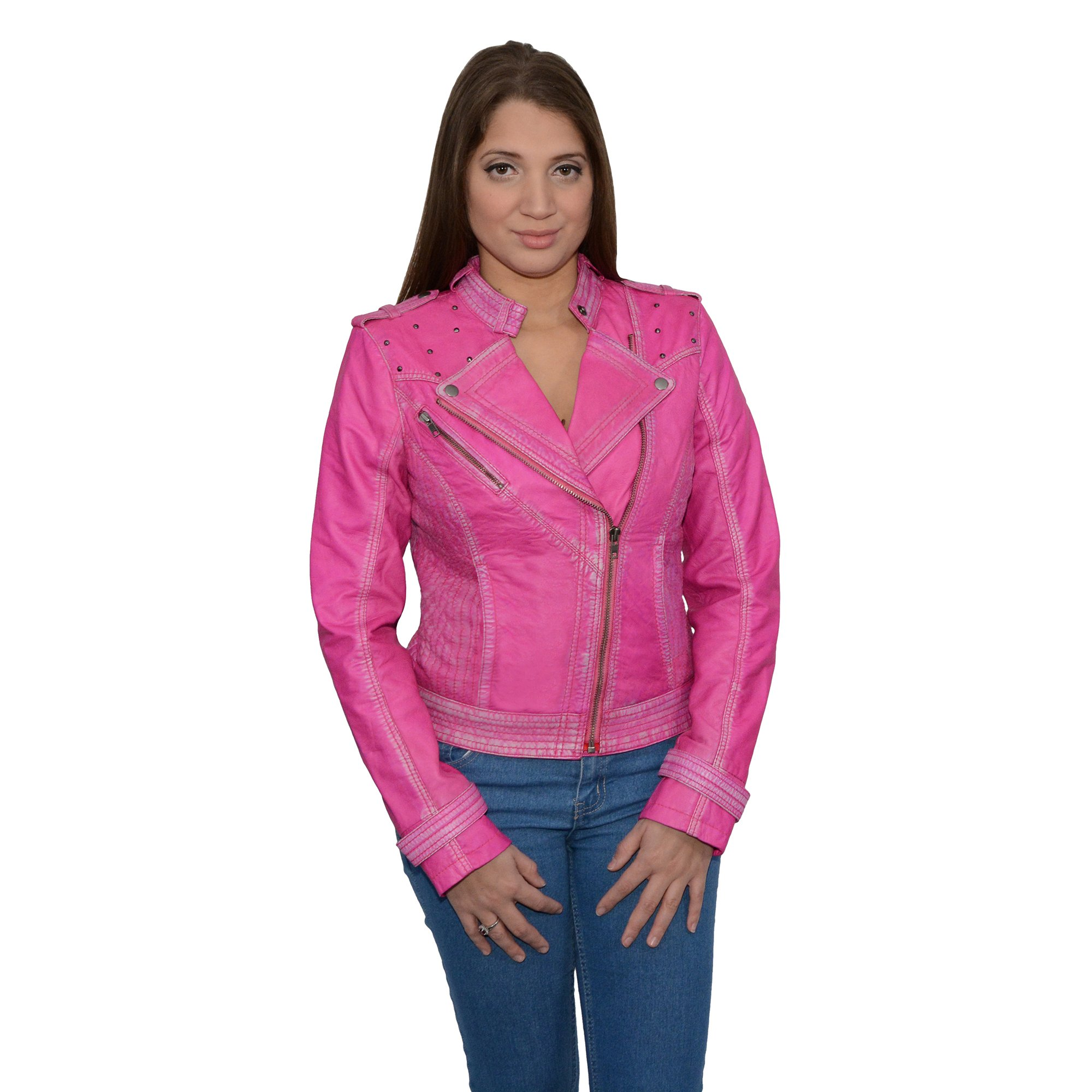 Milwaukee Leather Women's Sheepskin Asymmetrical Moto Jacket With Studding (Pink, X- Large), 1 Pack