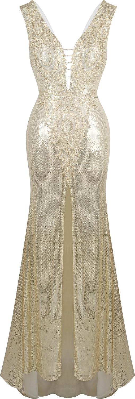 Angel-fashions Women's Paillette Split Open Back V Neck Applique Sweep Train Dress A-282CE