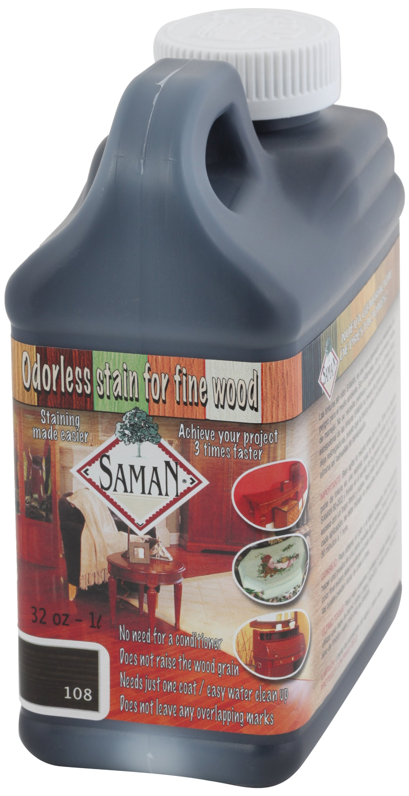 SamaN Interior Water Based Stain for Fine Wood, Black, 1 Quart
