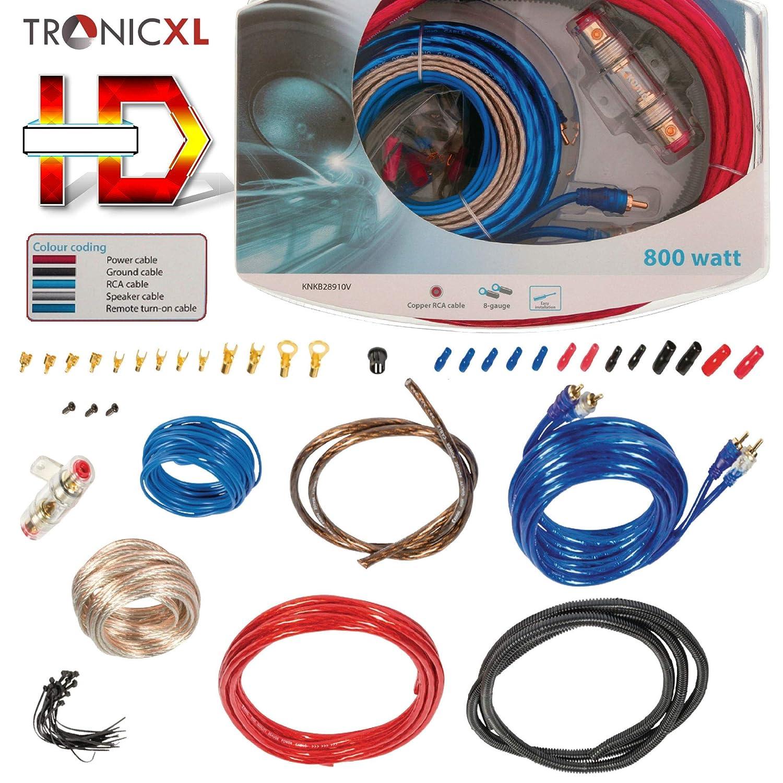 800 W, Conector RCA TronicXL Juego de Cables Hi-Fi para Coche