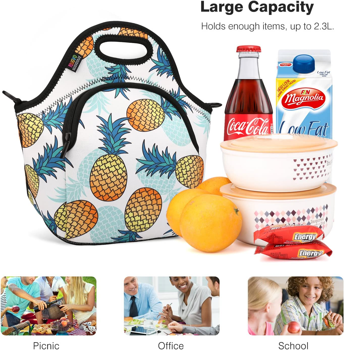 Nuovoware Neoprene Lunch Tote Reusable Picnic Bag Soft Thermal Cooler Tote Multi-Purpose Grocery Container with Adjustable Crossbody Strap and Front Zipper Pockets Insulated Lunch Bag Pineapple