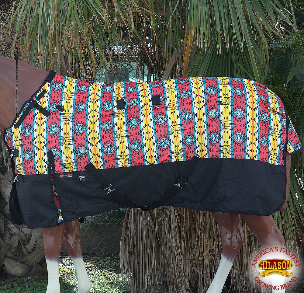 HILASON 78'' 1200D Ripstop Turnout Winter Horse Sheet Aztec Black