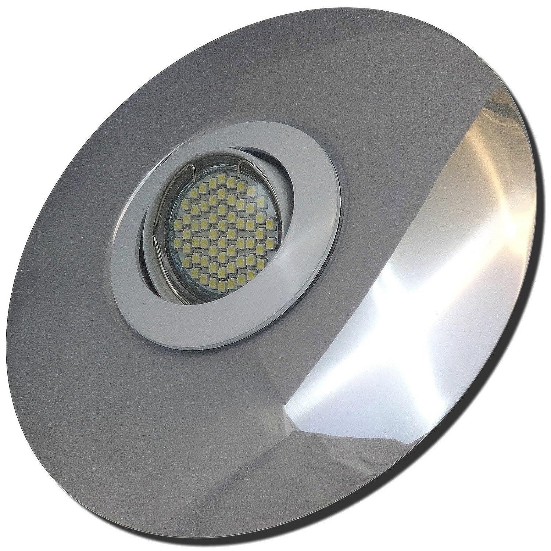 4 Stück SMD Modul Einbaustrahler Big Fabian 230 Volt 5 Watt Step Dimmbar Schwenkbar Weiß + Chrom Neutralweiß