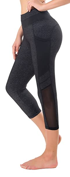 e64be4e649a5e Sudawave Womens Mesh Capri Workout Yoga Running Pants Active Tights  Leggings with Side Pocket (Small