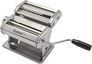 Pasta Maker Machine (177) By Cucina Pro - Heavy Duty Steel Construction - with Fettucine and Spaghetti attachment and Recipes