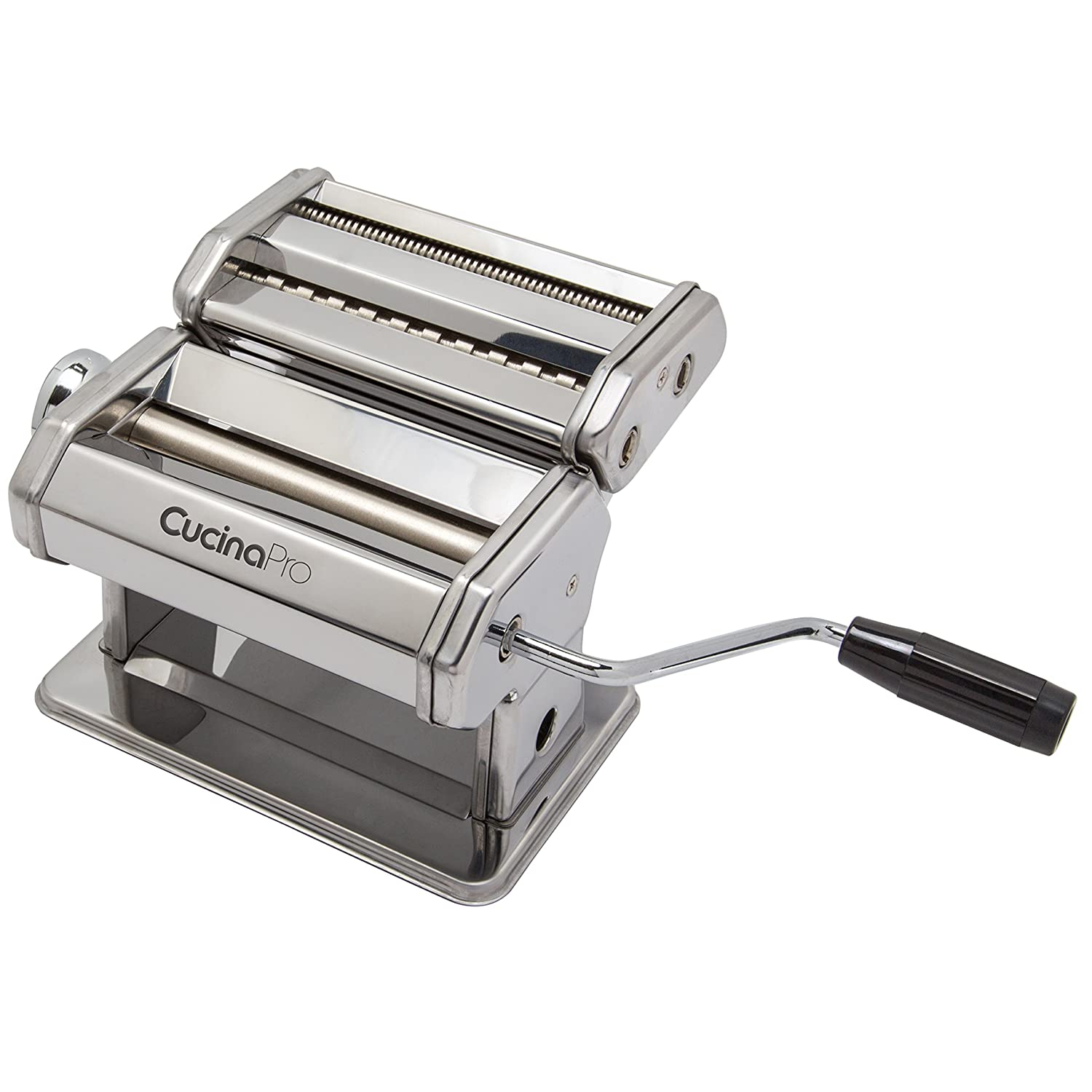 B00004SPDH Pasta Maker Machine (177) By Cucina Pro - Heavy Duty Steel Construction - with Fettucine and Spaghetti attachment and Recipes 81eiGKLVs6L