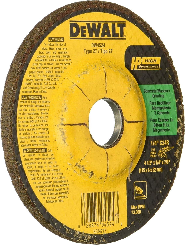 DEWALT DW4524 4-1//2-Inch by 1//4-Inch by 7//8-Inch Concrete//Masonry Grinding Wheel