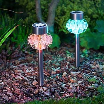 conjunto de lmparas solares de led cambia color para jardn o interiores con estaca desmontable