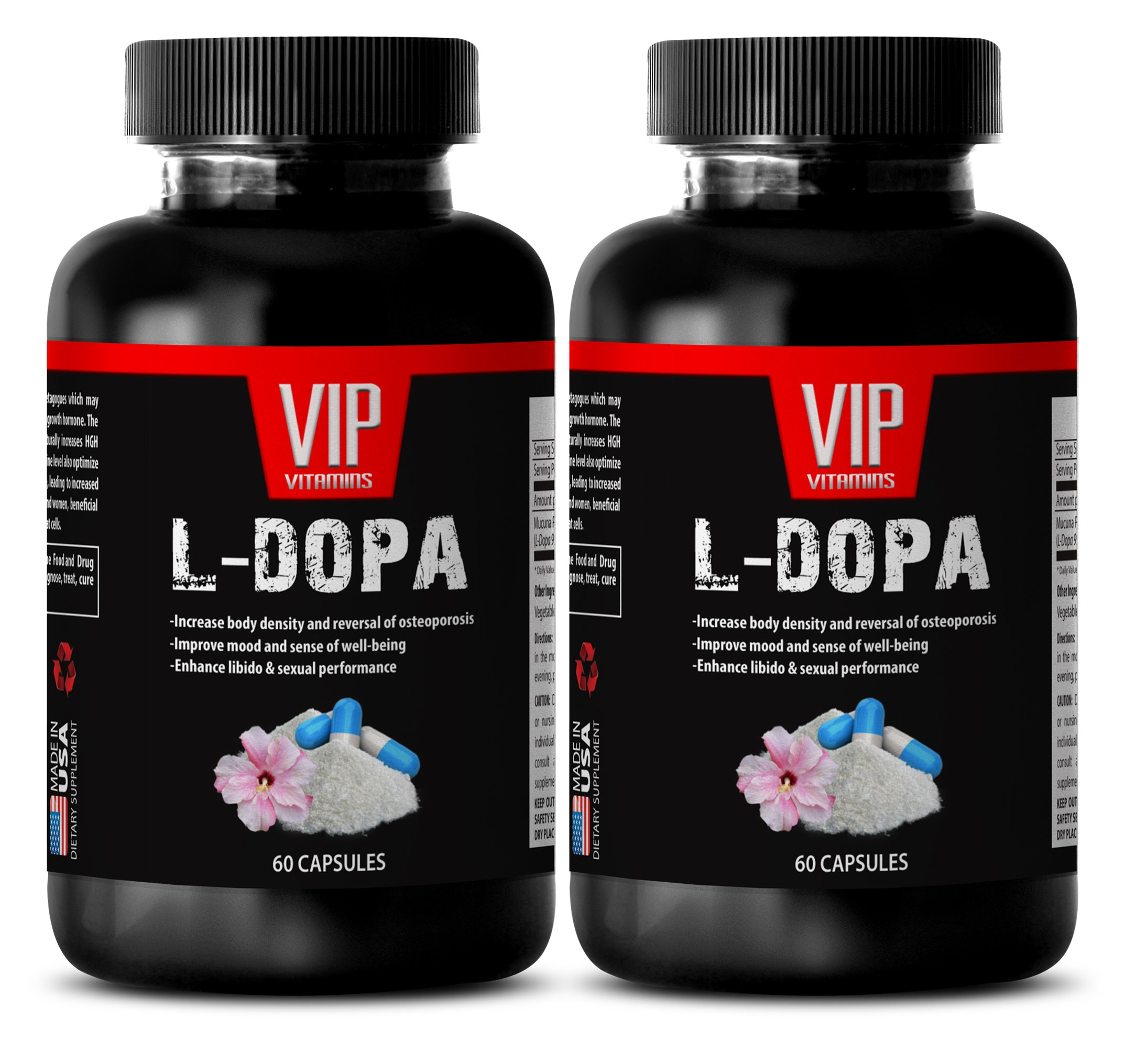 female sex drive booster natural - L-DOPA 350 mg - ENHANCE LIBIDO AND SEXUAL PERFORMANCE - dopabean - 2 Bottles (120 Capsules) by VIP VITAMINS (Image #1)