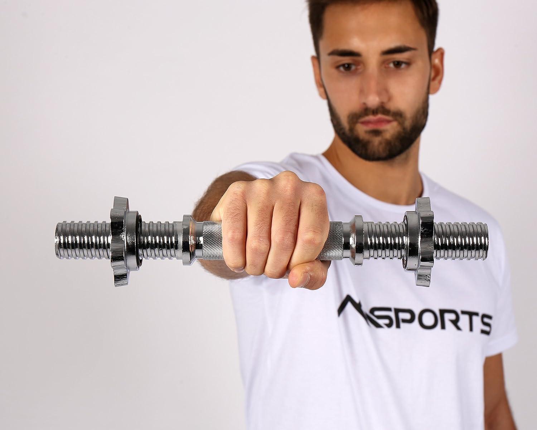 Msports - Barras cortas para pesas (2 unidades) con cierre de estrella, calidad de gimnasio profesional, para discos con orificio de 30 mm, Sternverschluss: ...