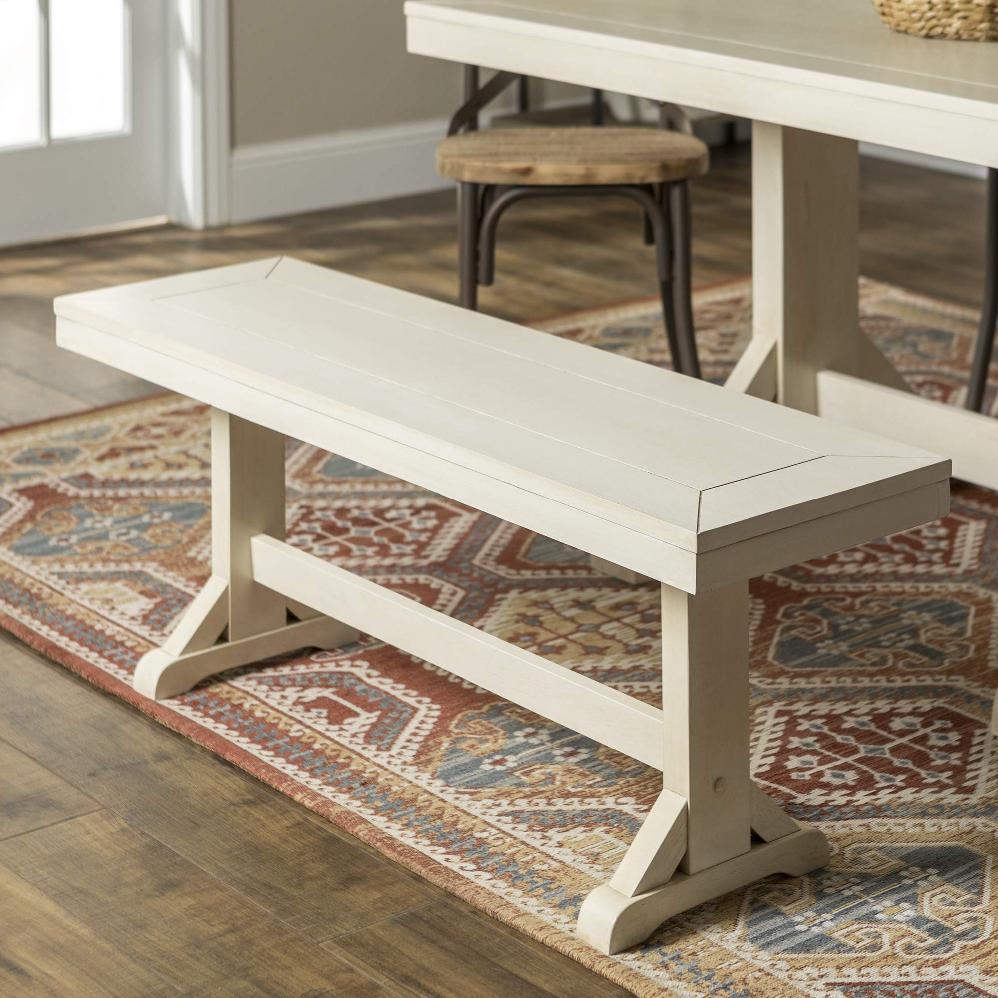 WE Furniture Rustic Farmhouse Wood 3 Person Dining Bench, 48 Inch, Antique White by WE Furniture