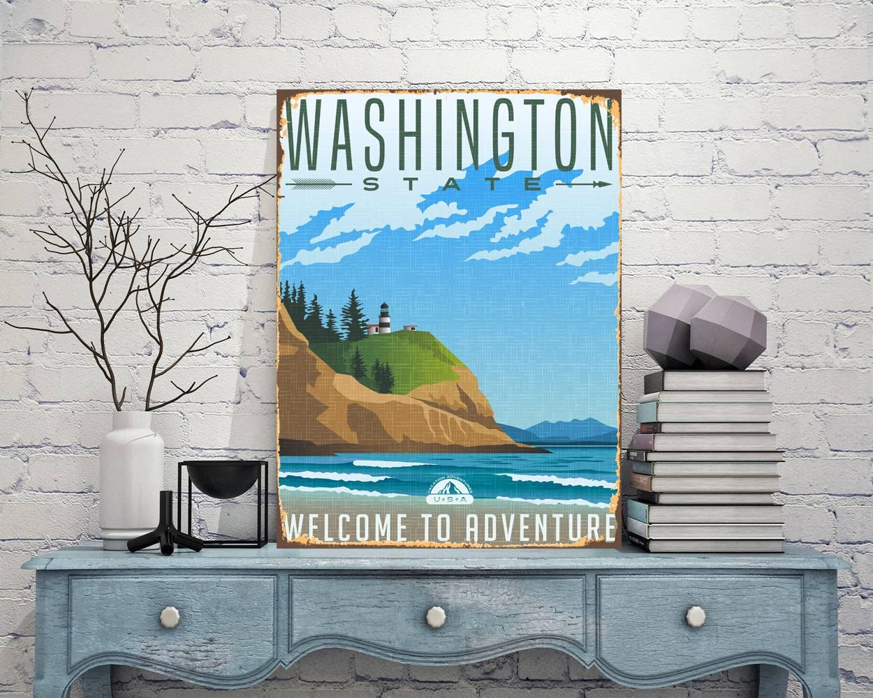 Diuangfoong Washington State Sign Welcome Sign Print Washington City Sign Metal Print Sign Traveler Sign Decor idea Plaque for him Door Decor Signage - 12×16 inches