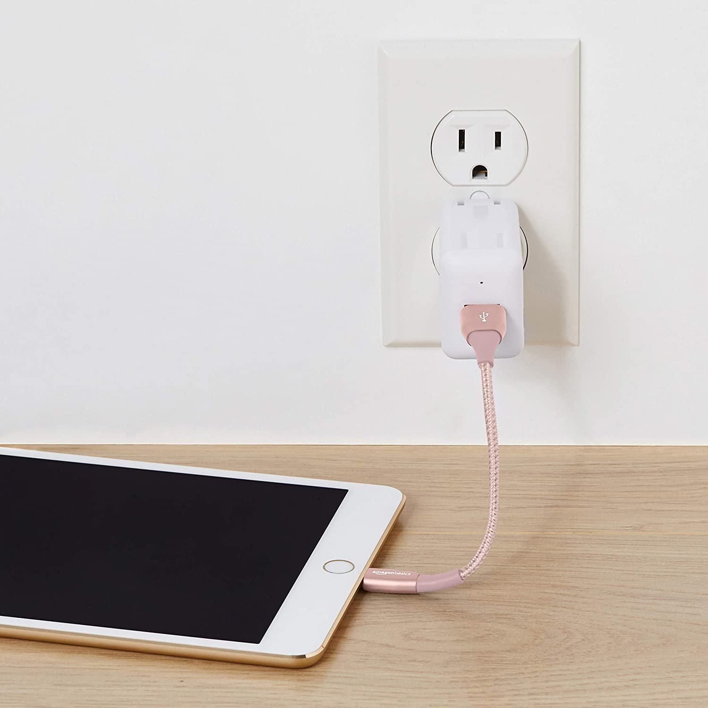Lightning-auf-USB-A-Kabel Basics Premium-Kollektion doppelt geflochtenes Nylon-Verbindungskabel Dunkelgrau 1,8 m 2 St/ück