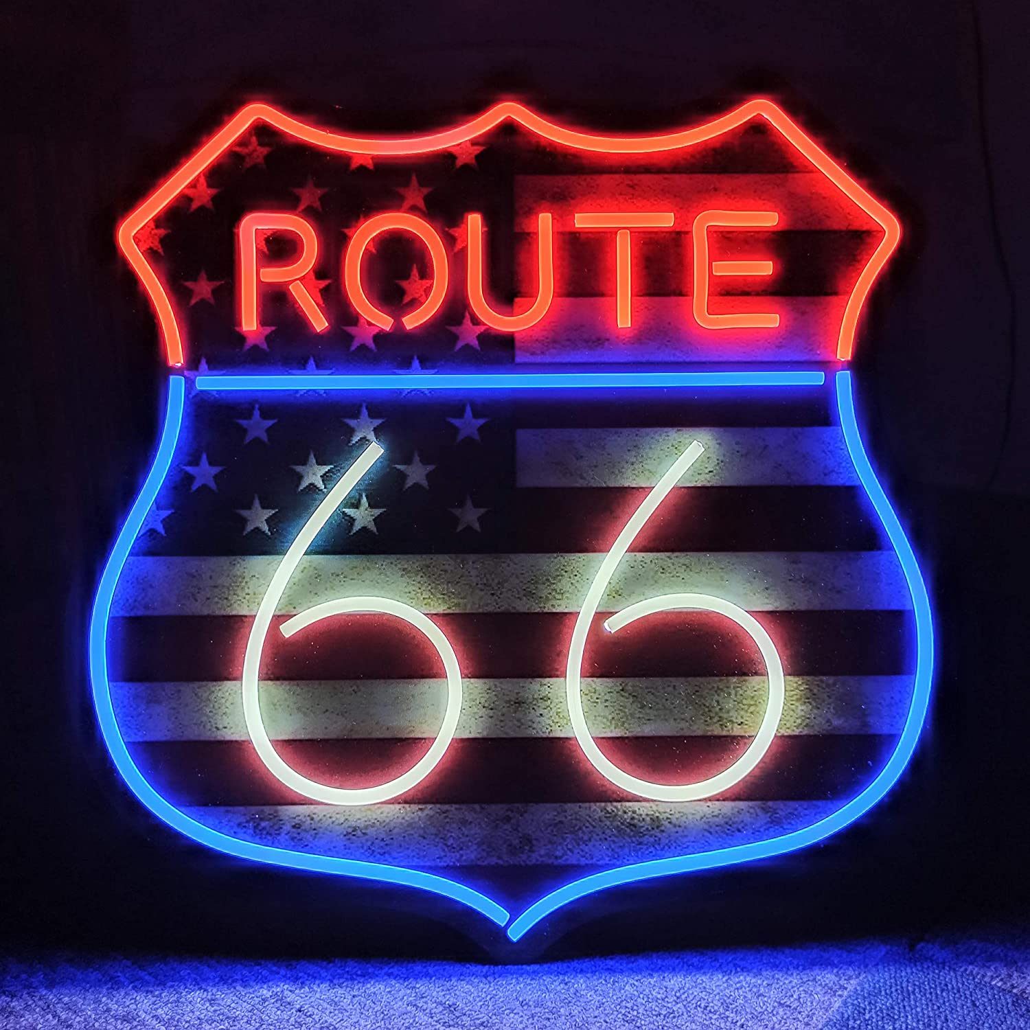 66 Route LED Neon Light Signs for Beer Bar Club Bedroom Office Hotel Pub Cafe Wedding Birthday Party Man Cave Art Wall Lights (White)