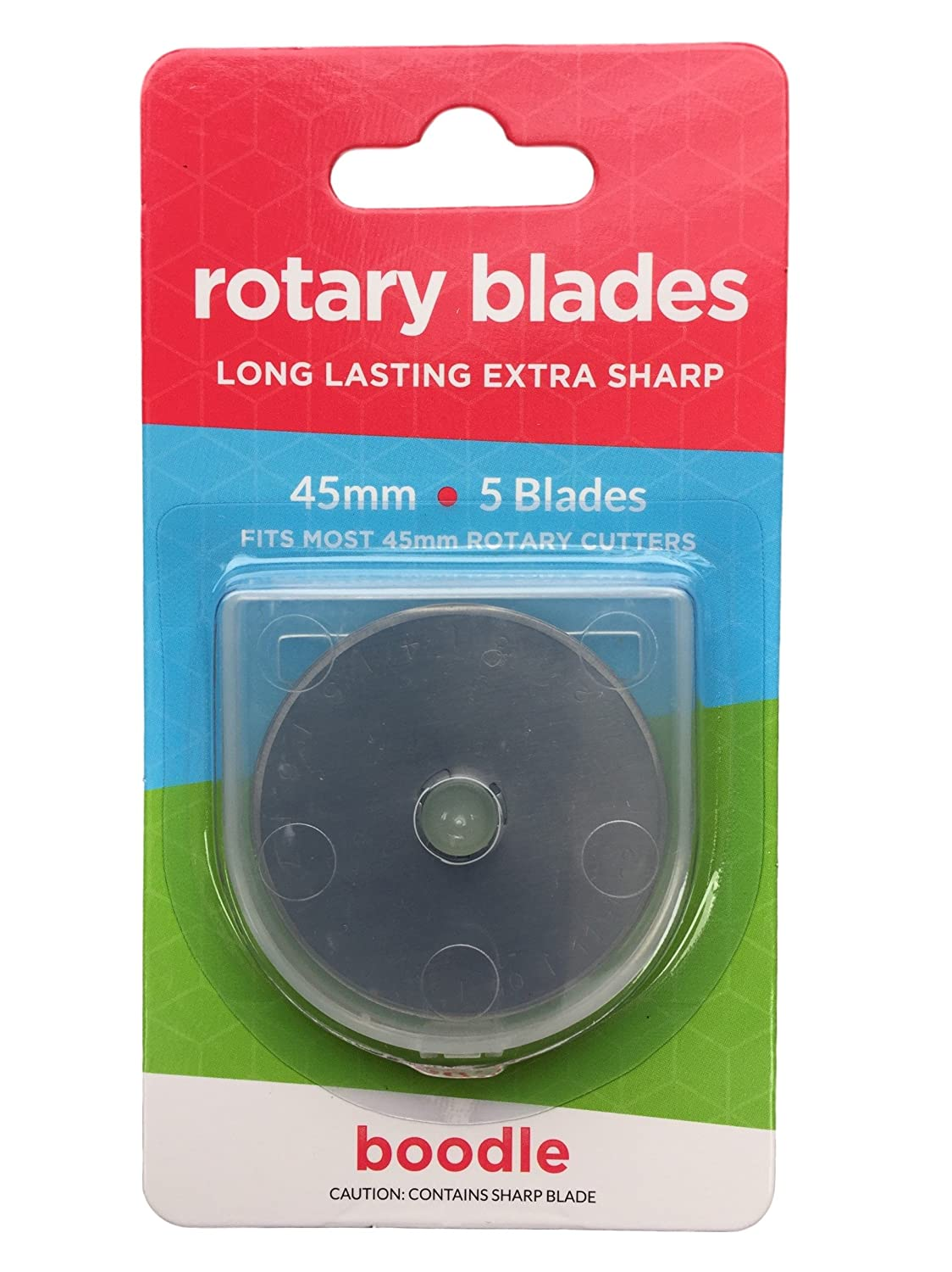 45mm Rotary Cutter Blades 5 Pack for Olfa Etc + Case SKS-7 Steel Boodle